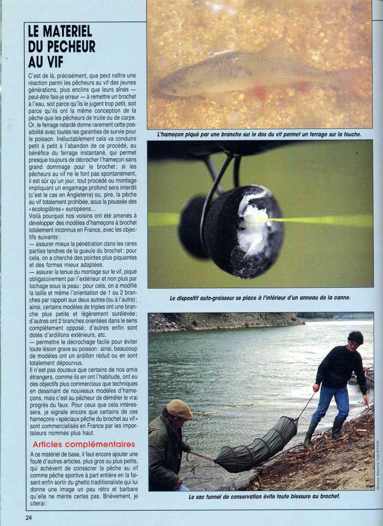Foyer Art Vif Bienne : Le matériel du pêcheur au vif article paru dans « la